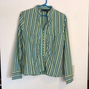 EUC Striped Collarless Button-down Shirt